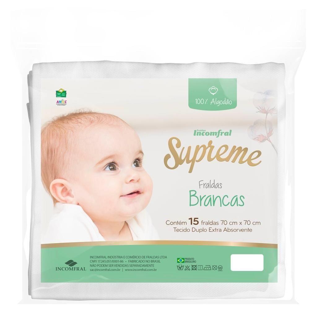 Fralda Supreme Branca Pacote com 15 Unidades - Incomfral 098103