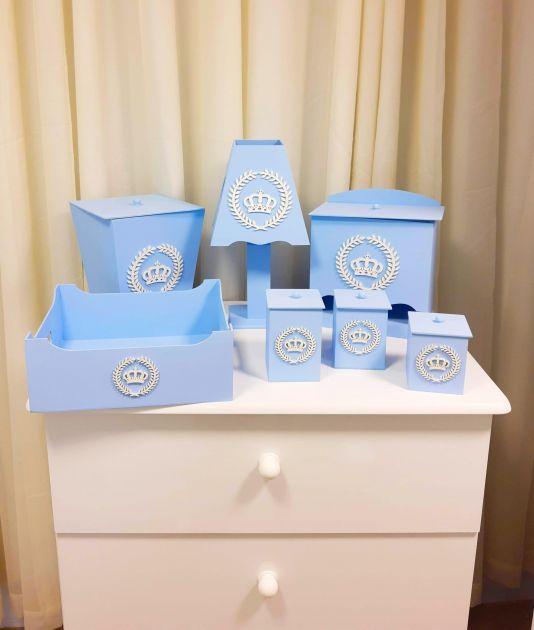Kit Higiene em MDF 7 peças Bebê Coroa Azul - Fábrica de Arte 106200